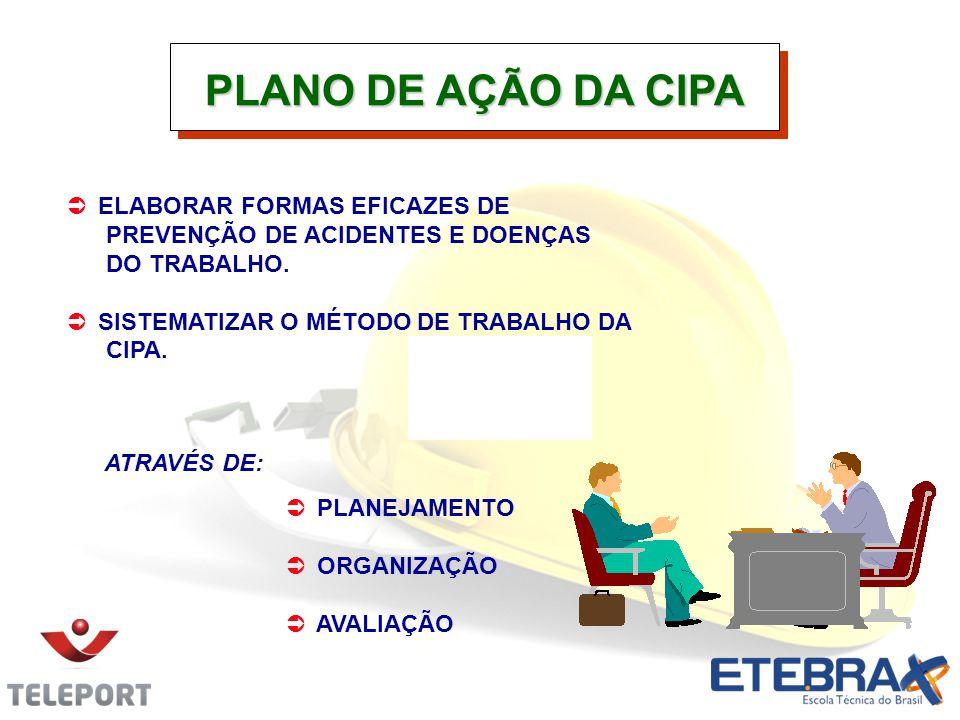 PLANO DE AÇÃO DA CIPA ELABORAR FORMAS EFICAZES DE PREVENÇÃO DE ACIDENTES E DOENÇAS DO TRABALHO.