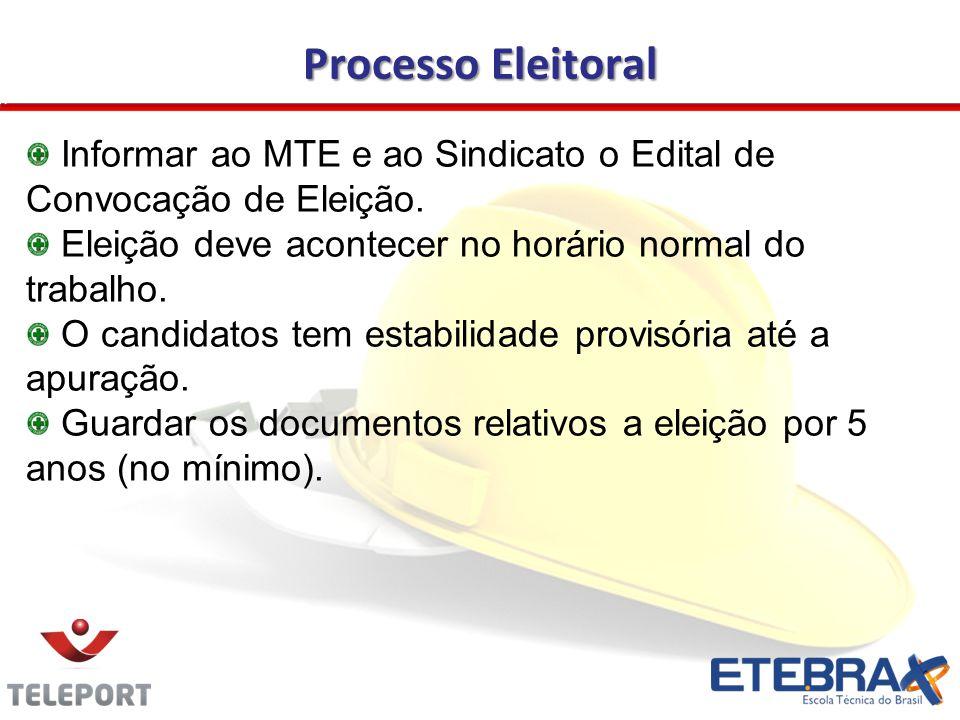 Processo Eleitoral Informar ao MTE e ao Sindicato o Edital de Convocação de Eleição. Eleição deve acontecer no horário normal do trabalho.
