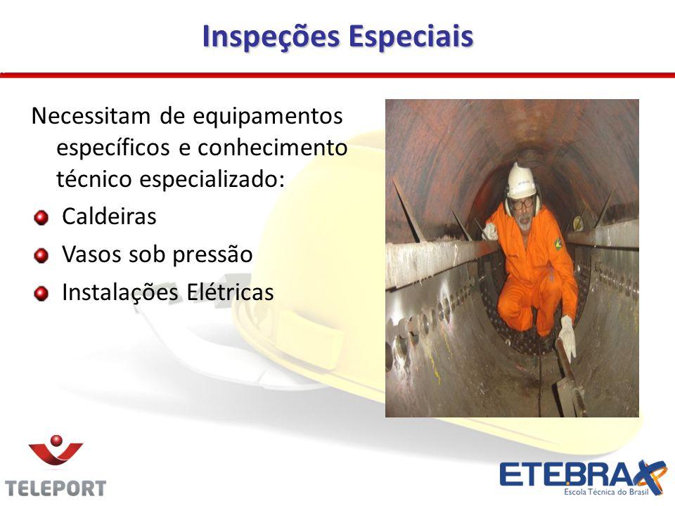 Inspeções Especiais Necessitam de equipamentos específicos e conhecimento técnico especializado: Caldeiras.