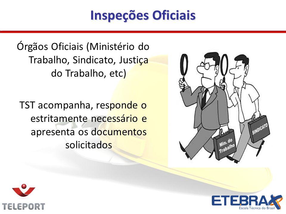Inspeções Oficiais Órgãos Oficiais (Ministério do Trabalho, Sindicato, Justiça do Trabalho, etc)