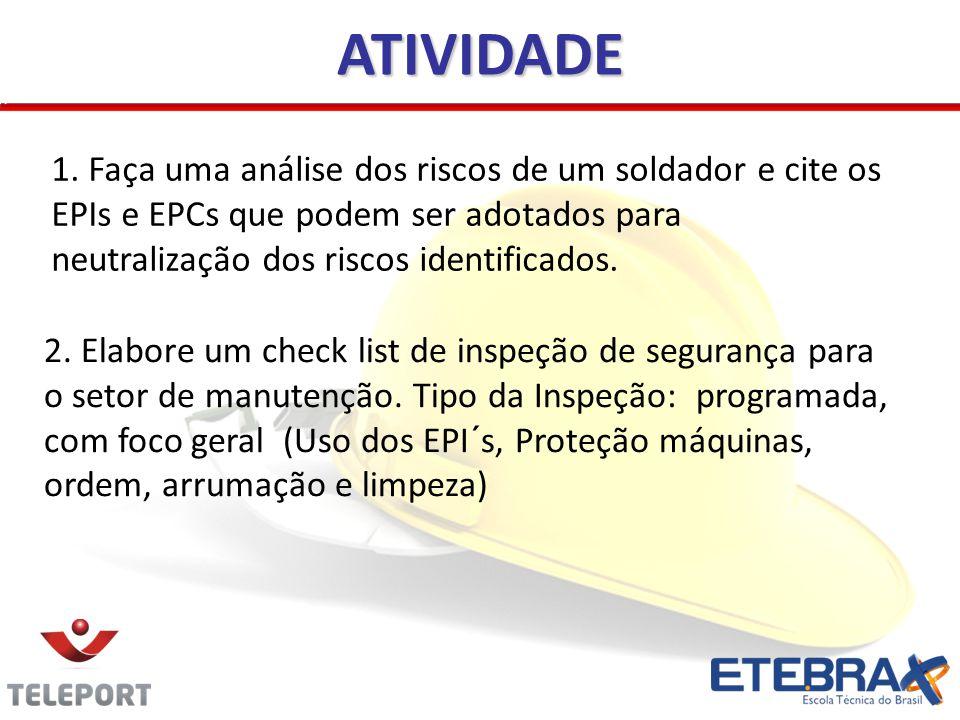 ATIVIDADE 1. Faça uma análise dos riscos de um soldador e cite os EPIs e EPCs que podem ser adotados para neutralização dos riscos identificados.