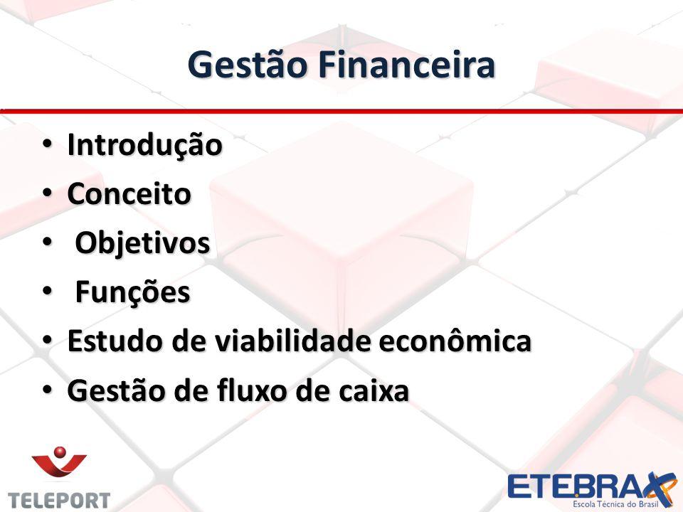 Gestão Financeira Introdução Conceito Objetivos Funções