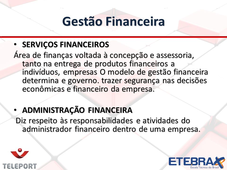 Gestão Financeira SERVIÇOS FINANCEIROS