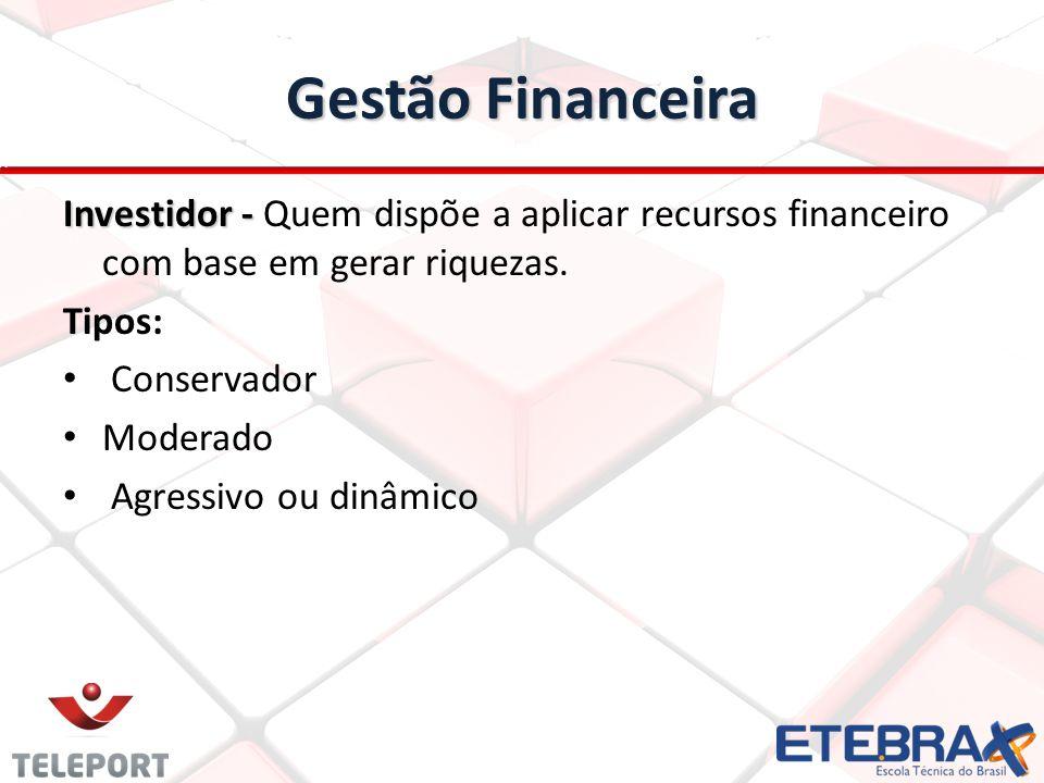 Gestão Financeira Investidor - Quem dispõe a aplicar recursos financeiro com base em gerar riquezas.