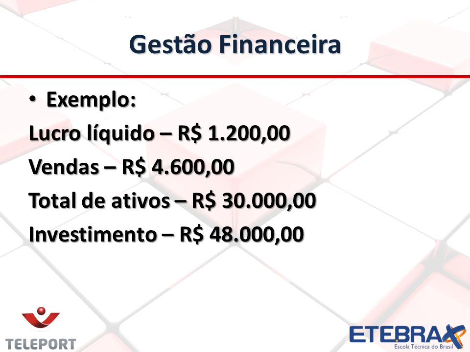 Gestão Financeira Exemplo: Lucro líquido – R$ 1.200,00