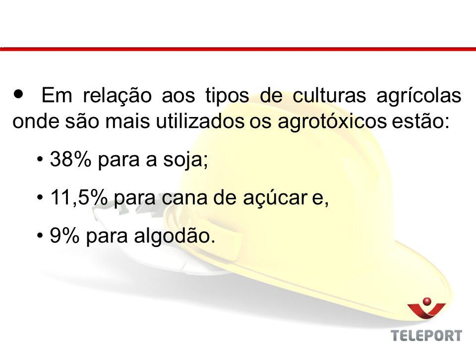 Em relação aos tipos de culturas agrícolas onde são mais utilizados os agrotóxicos estão: