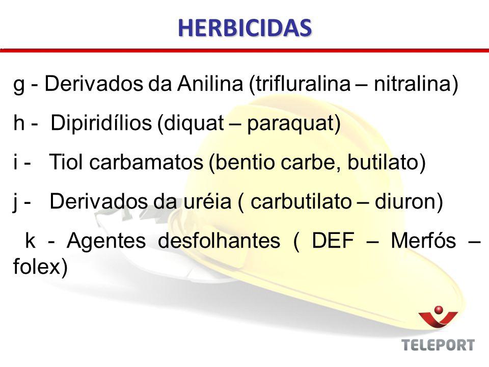HERBICIDAS g - Derivados da Anilina (trifluralina – nitralina)
