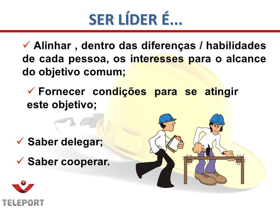 SER LÍDER É... Alinhar , dentro das diferenças / habilidades de cada pessoa, os interesses para o alcance do objetivo comum;