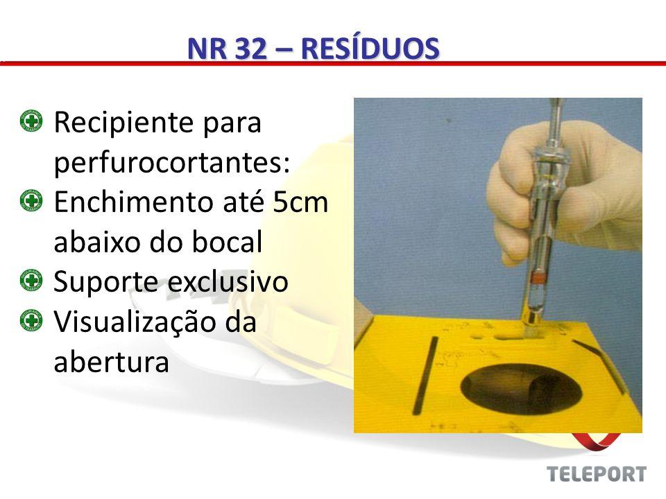 NR 32 – RESÍDUOS Recipiente para perfurocortantes: Enchimento até 5cm abaixo do bocal. Suporte exclusivo.