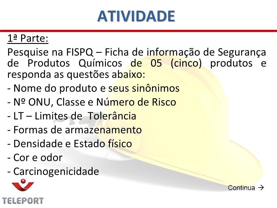ATIVIDADE 1ª Parte: Pesquise na FISPQ – Ficha de informação de Segurança de Produtos Químicos de 05 (cinco) produtos e responda as questões abaixo: