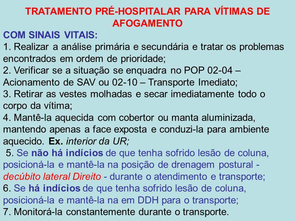 TRATAMENTO PRÉ-HOSPITALAR PARA VÍTIMAS DE AFOGAMENTO