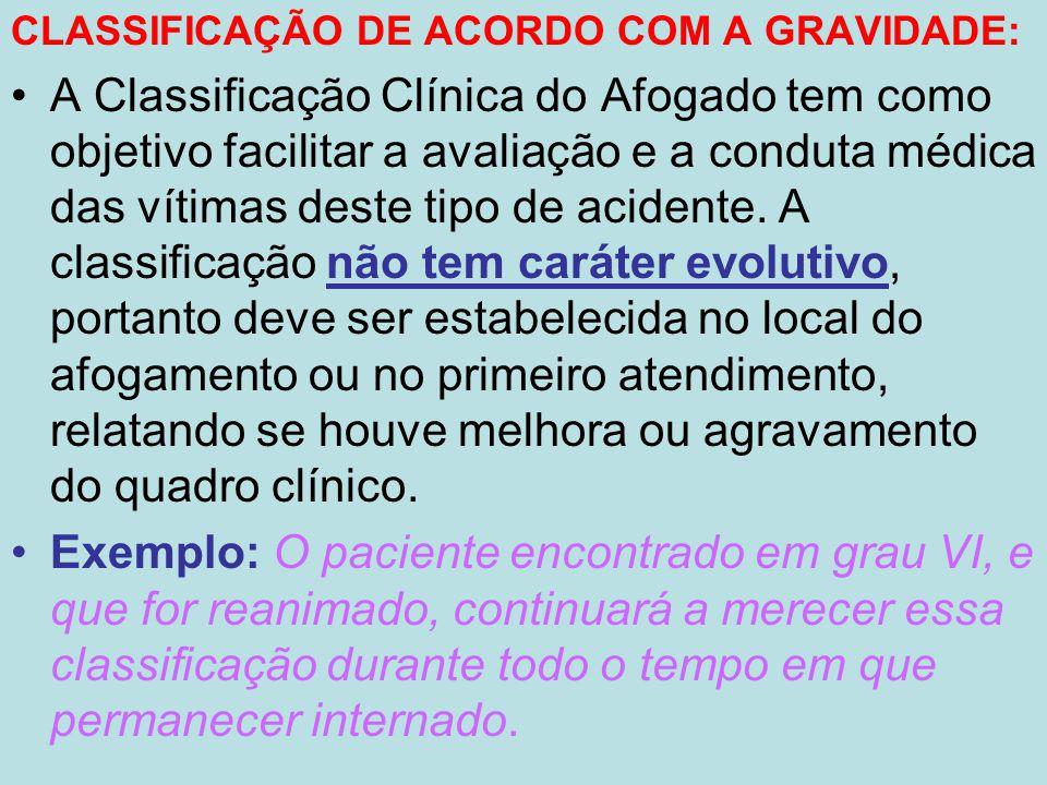 CLASSIFICAÇÃO DE ACORDO COM A GRAVIDADE: