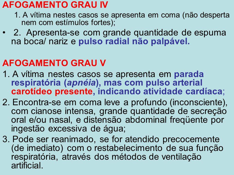 AFOGAMENTO GRAU IV 1. A vítima nestes casos se apresenta em coma (não desperta nem com estímulos fortes);