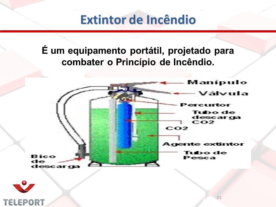 Extintor de Incêndio É um equipamento portátil, projetado para combater o Princípio de Incêndio. 01