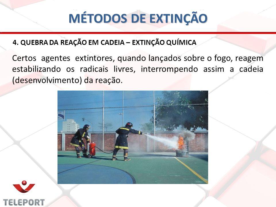 MÉTODOS DE EXTINÇÃO 4. QUEBRA DA REAÇÃO EM CADEIA – EXTINÇÃO QUÍMICA.