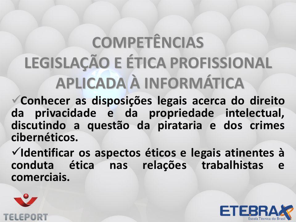 LEGISLAÇÃO E ÉTICA PROFISSIONAL APLICADA À INFORMÁTICA