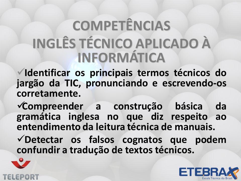 INGLÊS TÉCNICO APLICADO À INFORMÁTICA