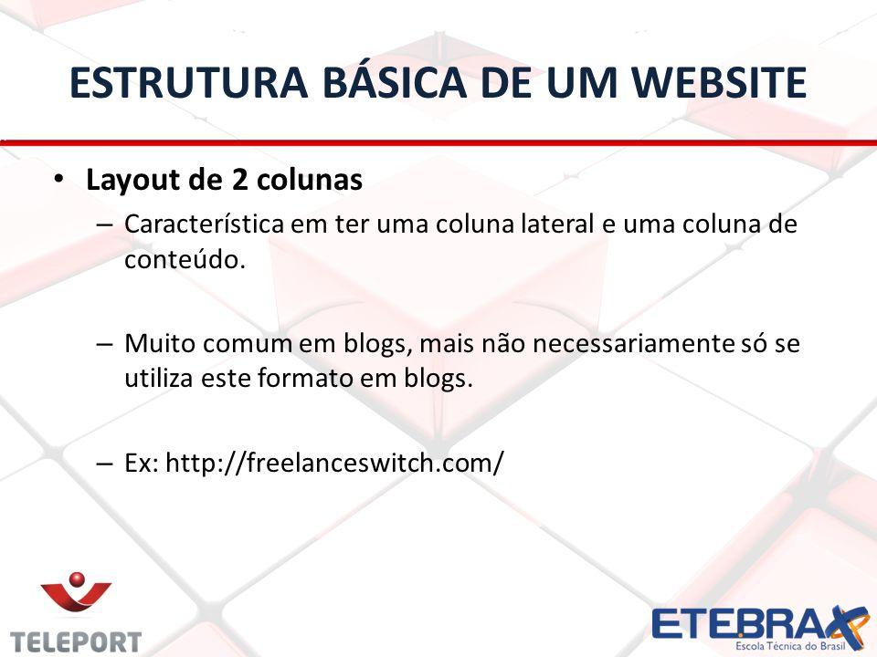 ESTRUTURA BÁSICA DE UM WEBSITE