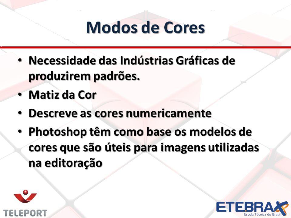 Modos de Cores Necessidade das Indústrias Gráficas de produzirem padrões. Matiz da Cor. Descreve as cores numericamente.