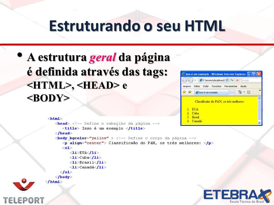 Estruturando o seu HTML