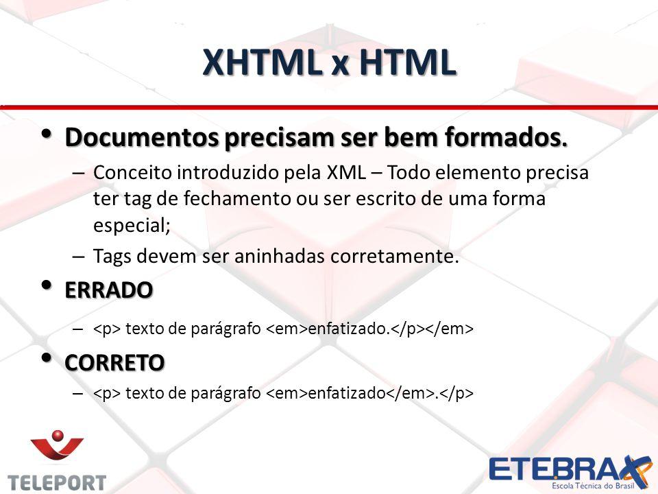 XHTML x HTML Documentos precisam ser bem formados. ERRADO CORRETO