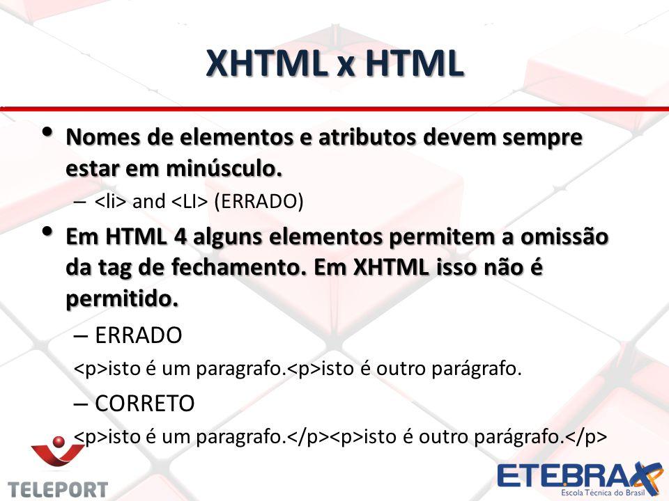 XHTML x HTML Nomes de elementos e atributos devem sempre estar em minúsculo. <li> and <LI> (ERRADO)