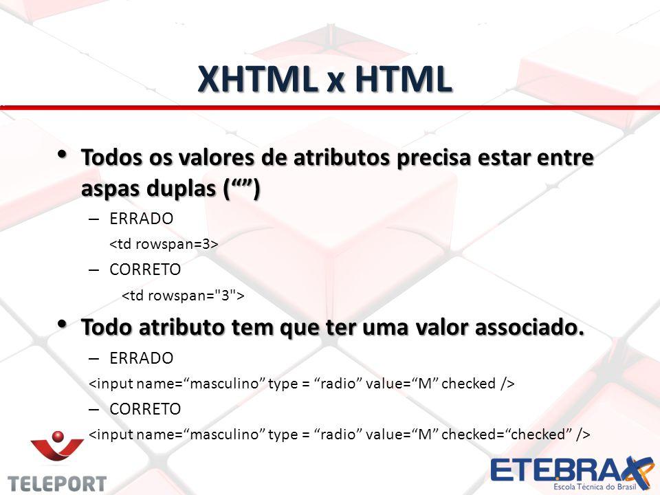 XHTML x HTML Todos os valores de atributos precisa estar entre aspas duplas ( ) ERRADO. <td rowspan=3>