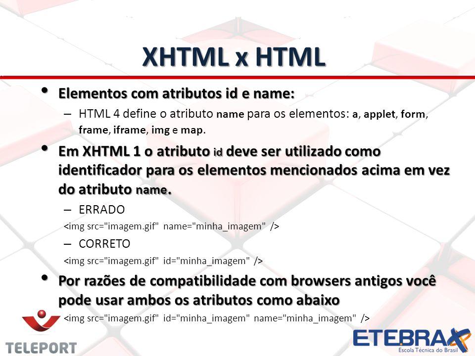 XHTML x HTML Elementos com atributos id e name: