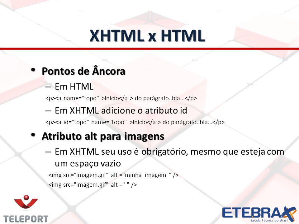 XHTML x HTML Pontos de Âncora Atributo alt para imagens Em HTML