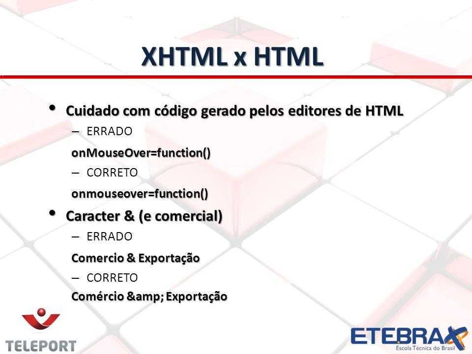 XHTML x HTML Cuidado com código gerado pelos editores de HTML