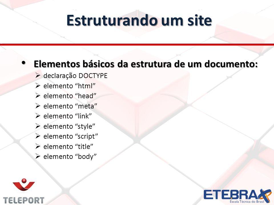 Estruturando um site Elementos básicos da estrutura de um documento: