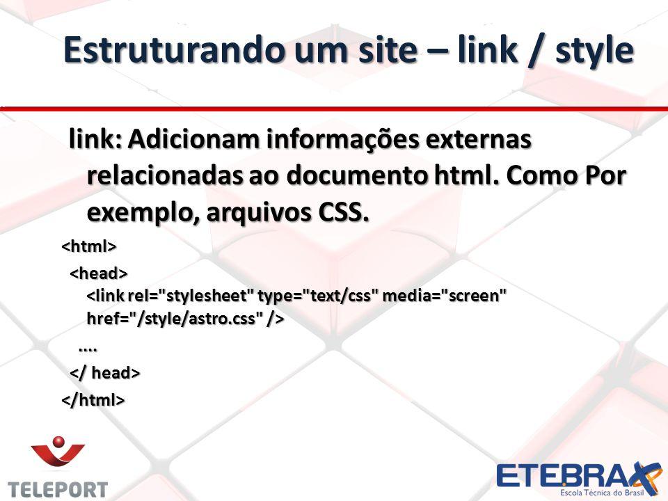 Estruturando um site – link / style