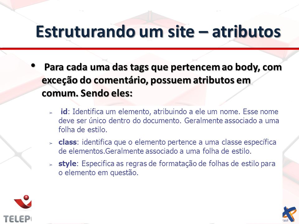 Estruturando um site – atributos