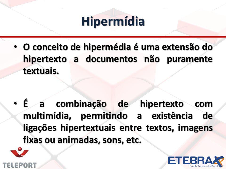 Hipermídia O conceito de hipermédia é uma extensão do hipertexto a documentos não puramente textuais.