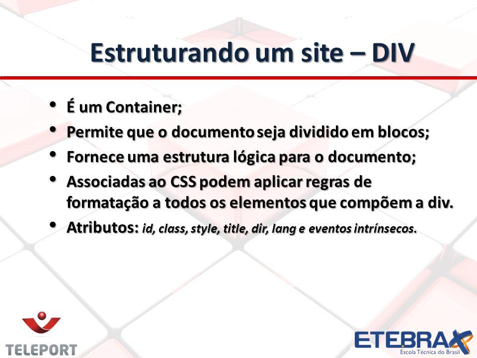Estruturando um site – DIV
