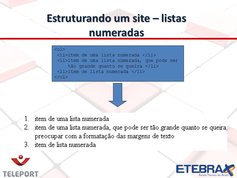 Estruturando um site – listas numeradas