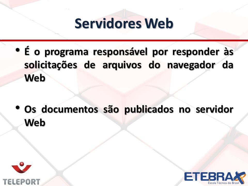 Servidores Web É o programa responsável por responder às solicitações de arquivos do navegador da Web.