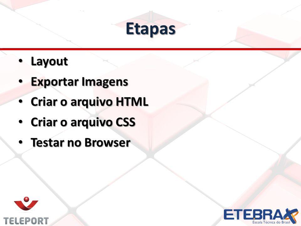 Etapas Layout Exportar Imagens Criar o arquivo HTML