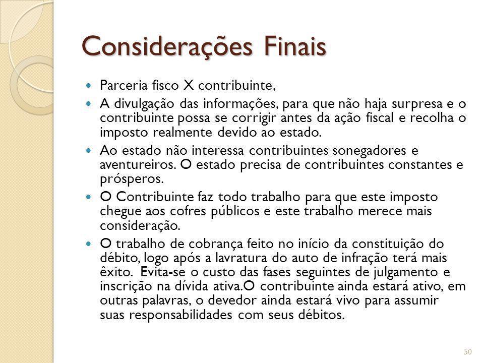 Considerações Finais Parceria fisco X contribuinte,