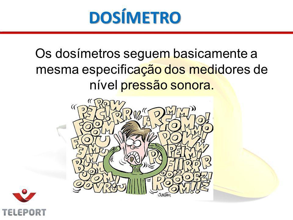 DOSÍMETRO Os dosímetros seguem basicamente a mesma especificação dos medidores de nível pressão sonora.