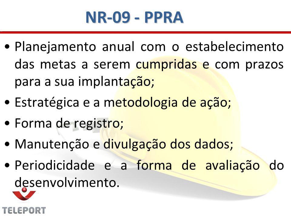 NR-09 - PPRA Planejamento anual com o estabelecimento das metas a serem cumpridas e com prazos para a sua implantação;