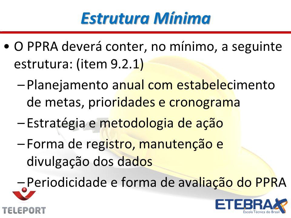 Estrutura Mínima O PPRA deverá conter, no mínimo, a seguinte estrutura: (item 9.2.1)