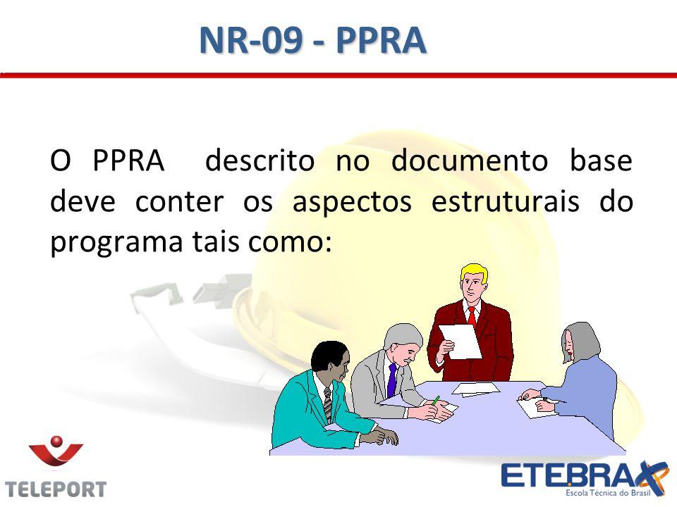 NR-09 - PPRA O PPRA descrito no documento base deve conter os aspectos estruturais do programa tais como: