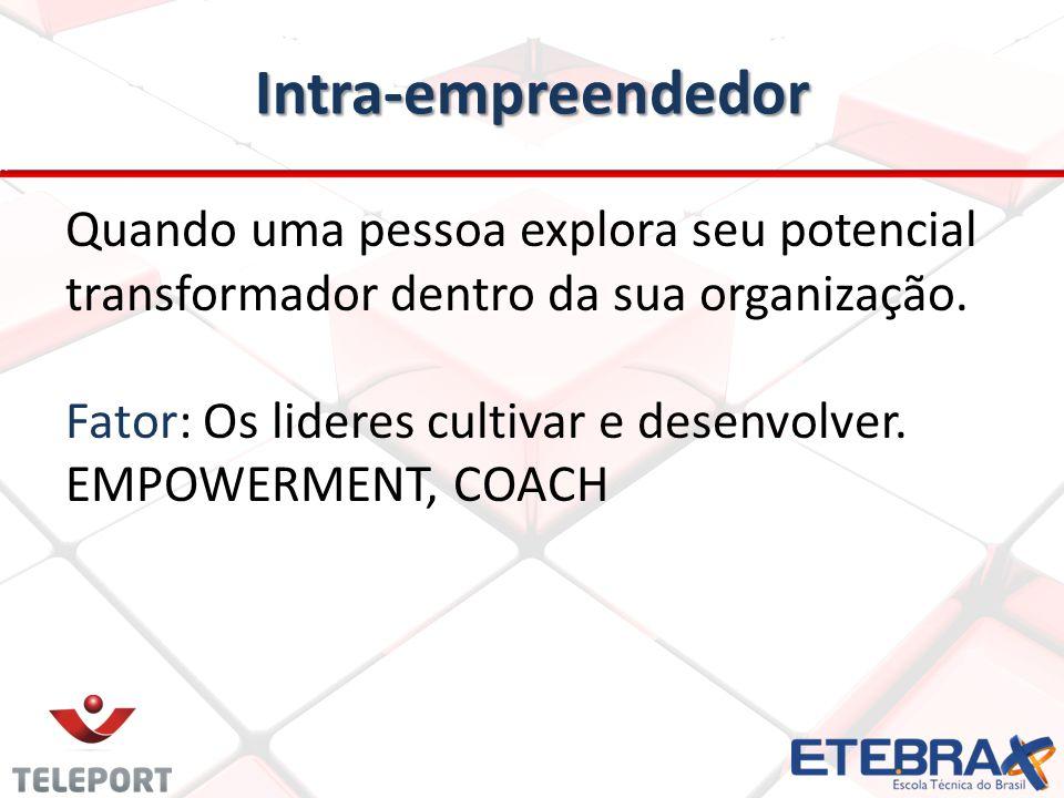 Intra-empreendedor Quando uma pessoa explora seu potencial transformador dentro da sua organização.