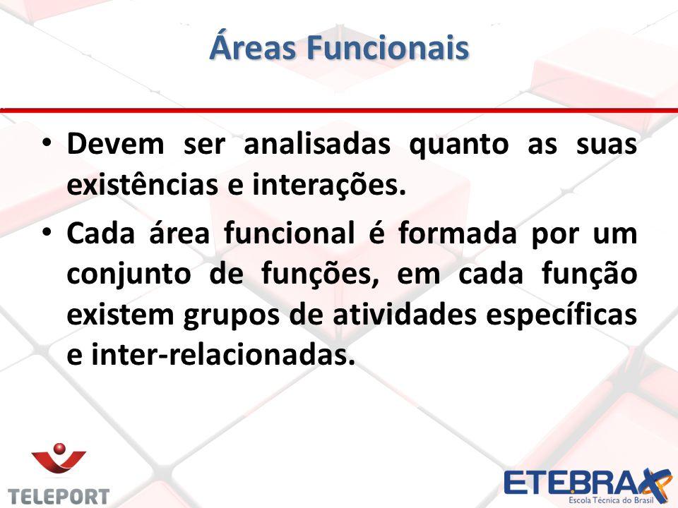 Áreas Funcionais Devem ser analisadas quanto as suas existências e interações.