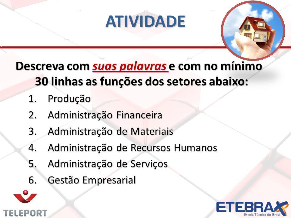ATIVIDADE Descreva com suas palavras e com no mínimo 30 linhas as funções dos setores abaixo: Produção.