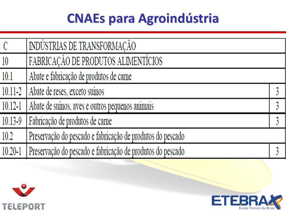 CNAEs para Agroindústria