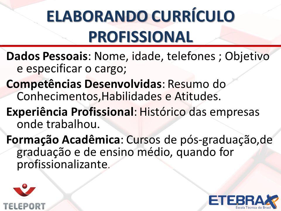 ELABORANDO CURRÍCULO PROFISSIONAL