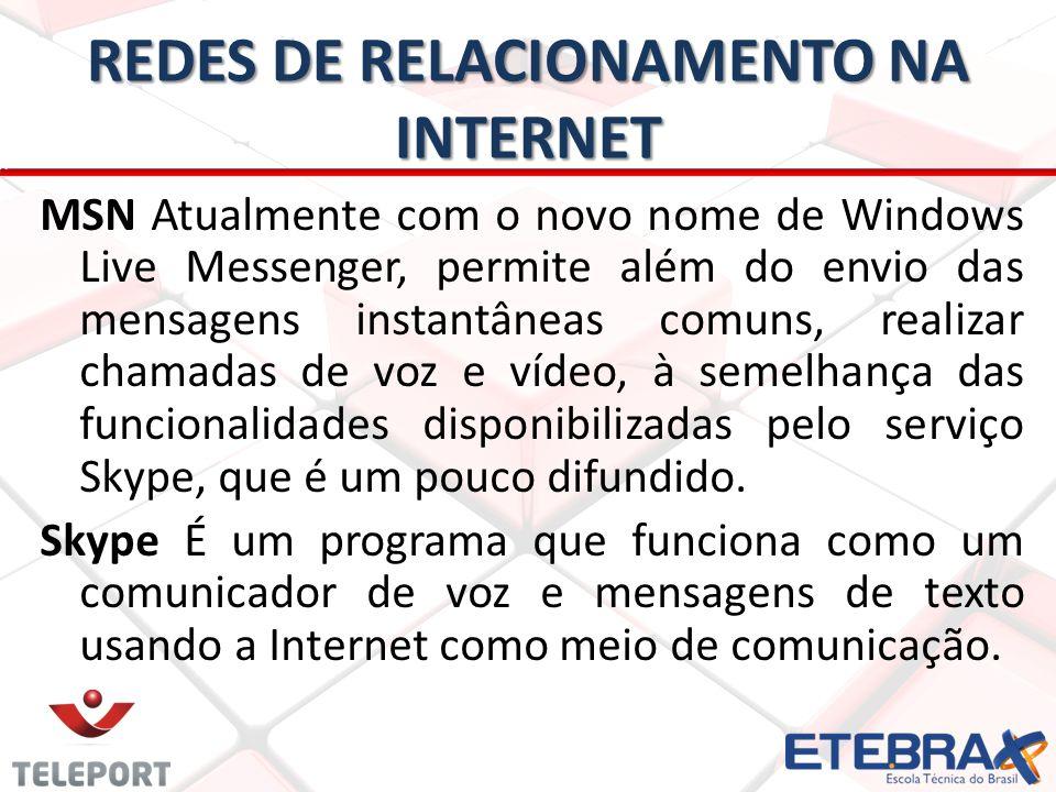 REDES DE RELACIONAMENTO NA INTERNET