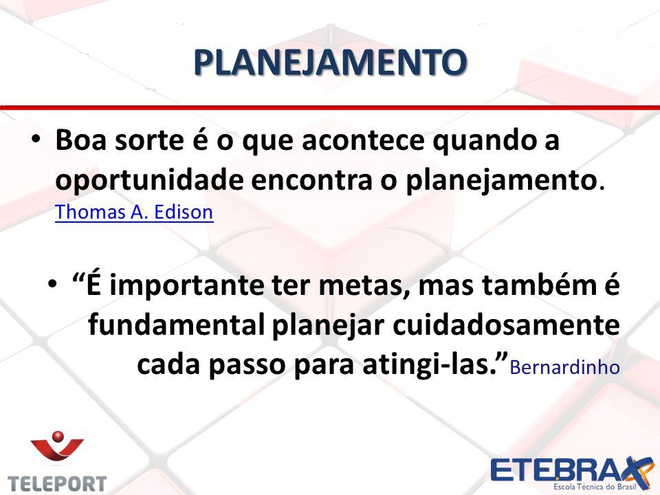 PLANEJAMENTO Boa sorte é o que acontece quando a oportunidade encontra o planejamento. Thomas A. Edison.